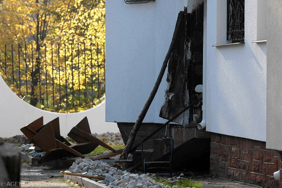 Spalone drzwi meczetu w Gdańsku