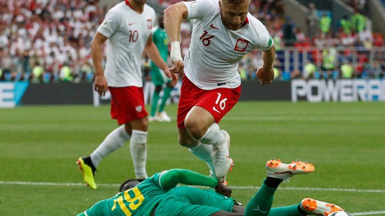 Mbaye Niang i Jakub Błaszczykowski w meczu Polska-Senegal. Mistrzostwa Świata w Piłce Nożnej w Rosji, Moskwa, Stadion Spartaka, 19 czerwca 2018