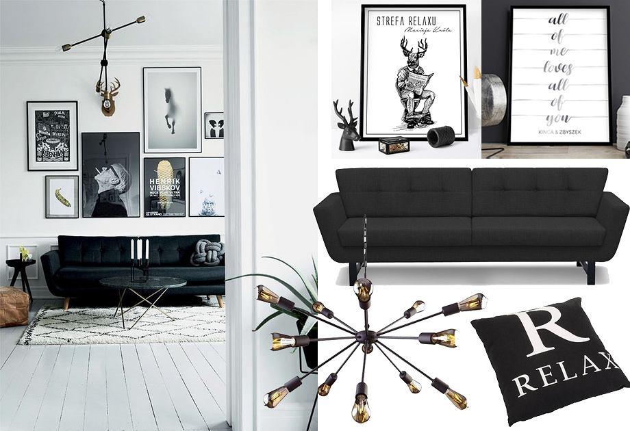 Czarna kanapa w salonie - aranżacja