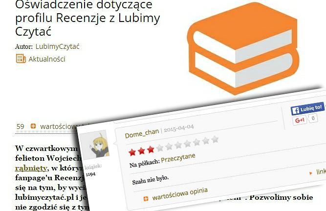 Oświadczenie serwisu LubimyCzytać.pl i jedna z recenzji