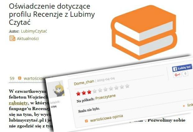 O�wiadczenie serwisu LubimyCzyta�.pl i jedna z recenzji