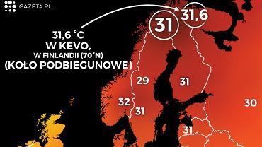Temperatury w Europie 18 lipca