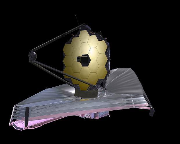 Grafika przedstawiająca teleskop Webba w pełnej krasie