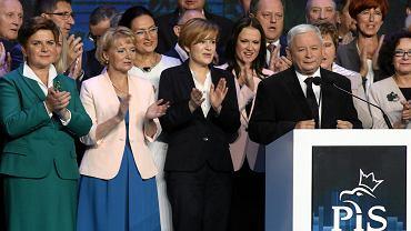 Jarosław Kaczyński podczas konwencji wyborczej. Warszawa, 12 września 2015 r.
