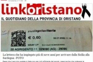 """List priorytetowy szed� z Sycylii na Sardyni� ponad 9 lat. """"Go��b pocztowy dostarczy�by go w kilka dni"""""""