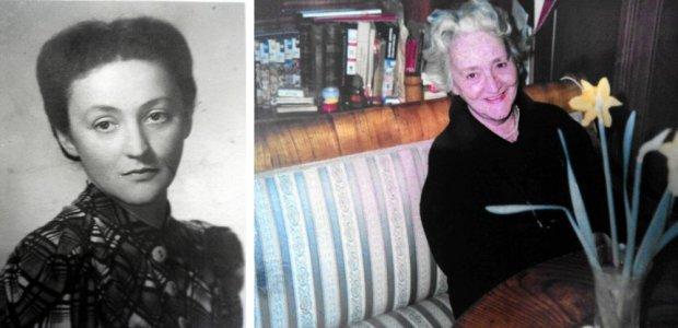Wanda Nelken-Załuska na czarno-białym zdjęciu, zrobionym tuż po wojnie, i na kolorowym sprzed kilkunastu lat