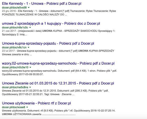 Dokumenty są indeksowane przez wyszukiwarkę Google