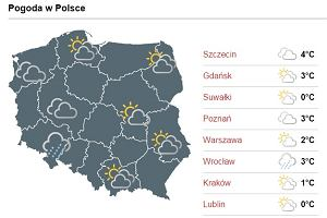 Prognoza pogody na jutro ( piątek, 16 grudzień ) - Warszawa, Wrocław, Kraków