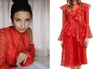 Kolaż, czerwona sukienka/Materiały partnera/www.instagram.com/juliawieniawa