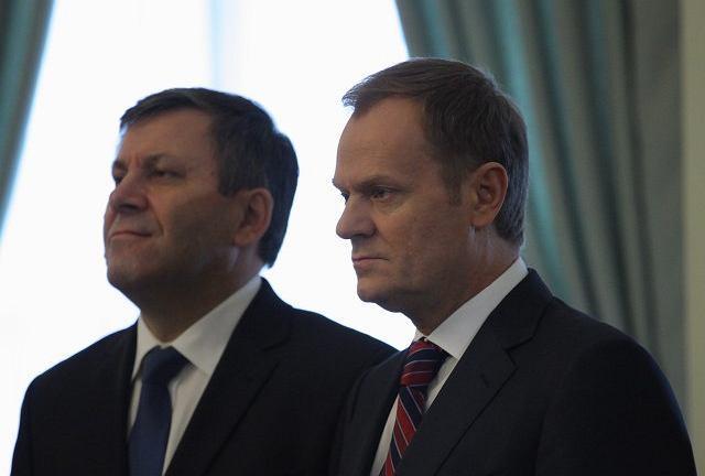 Szef PSL Janusz Piechociński i premier Donald Tusk