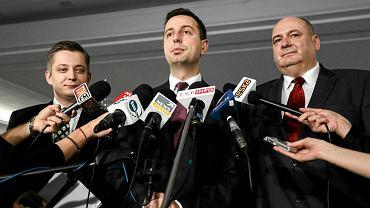 Jakub Stefaniak, kandydat PSL na prezydenta Warszawy (pierwszy z lewej)