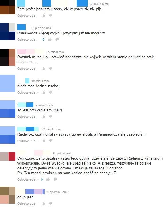 Komentarze pod wideo z występu Lady Pank