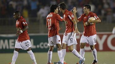 Juan Aurich - River Plate 1:1 w Copa Libertadores. Hernan Rengifo (z piłką)