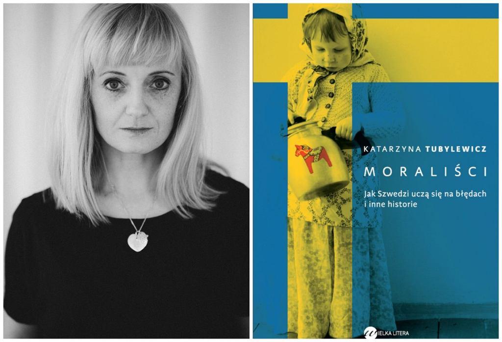 Katarzyna Tubylewicz i okładka jej książki (fot. Justyna Jaworska/mat. wyd. Wielka Litera)