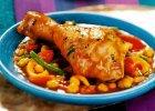Obiad z tad�inem z kurczaka, zup� z por�w i lekkim deserem