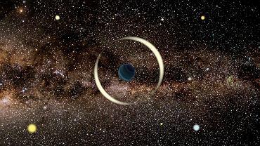 Mikrosoczewkowanie grawitacyjne przez planetę swobodną - wizja artystyczna