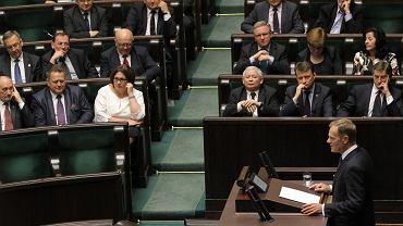 Donald Tusk mówi w Sejmie o aferze podsłuchowej