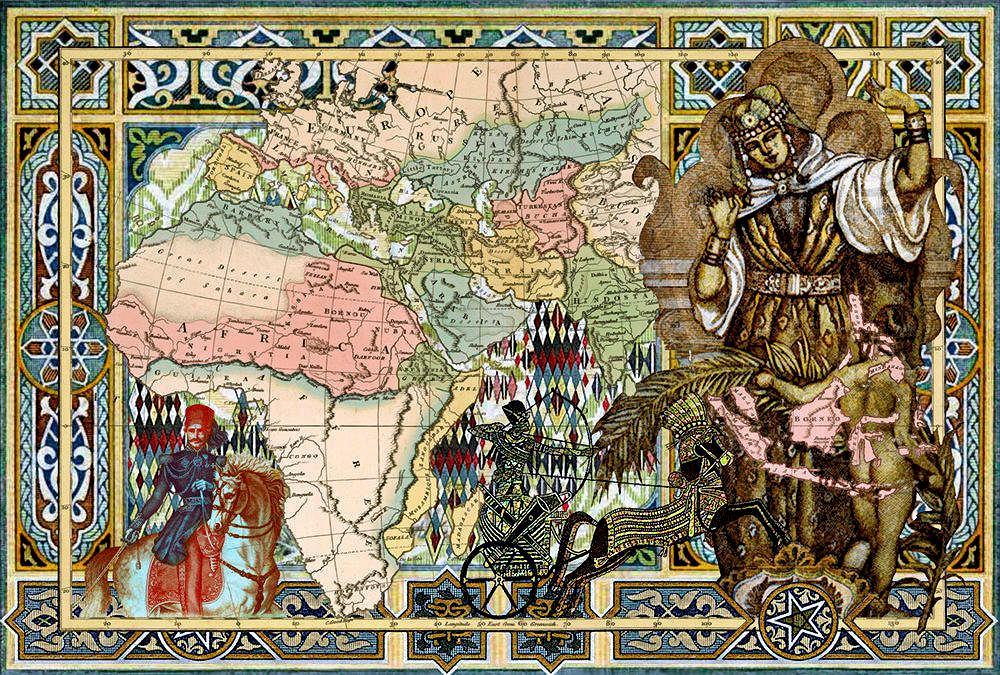 Malala Andrialavidrazana Figura 1816 Południowe gwieździste niebo vs Planiglob antypodow, 2015 , druk pigmentowy na papierze bawełnianym. Wystawa  'Bestia, bóg i linia'  / MALALA ANDRIALAVIDRAZANA