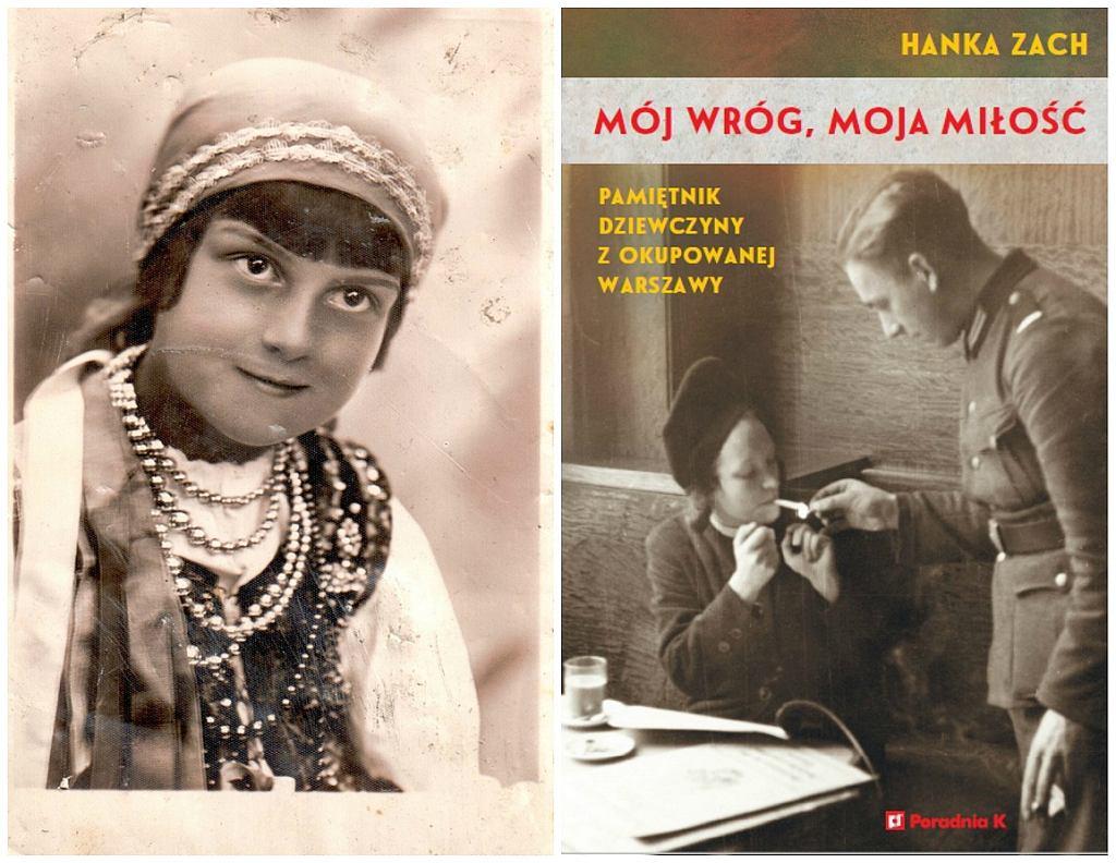 Po lewej mała Hania Zach w stroju ludowym, po prawej okładka książki