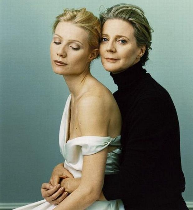 Gwyneth Paltrow blisko by�a nie tylko z mam� - Blythe Daner, ale tak�e nie�yj�cym ju� ojcem.