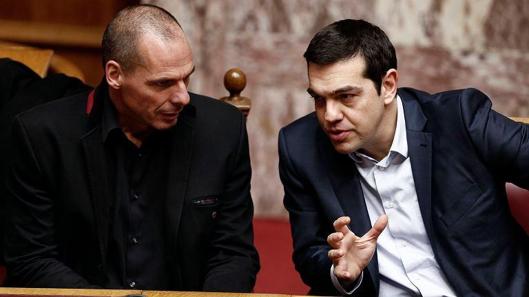 Janis Warufakis, minister finansów Grecji i Aleksis Cipras, premier Grecji
