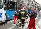 Wroc�aw: czo�owe zderzenie tramwaj�w. 24 osoby poszkodowane