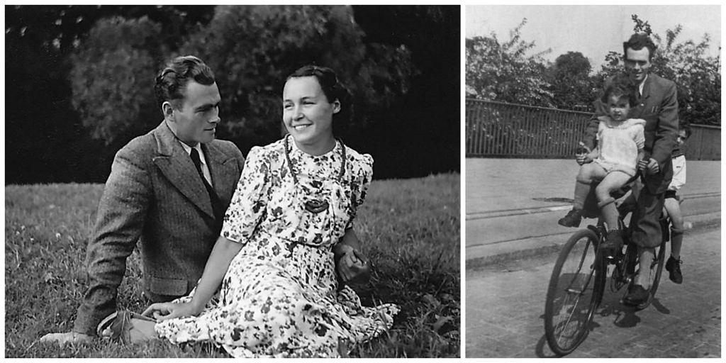 Po lewej: rodzice Wandy, Maria (Mary) i Zbigniew Błaszkiewiczowie, Płungiany na Litwie, 9 sierpnia 1940 r. Po prawej mała Wanda podczas przejażdżki rowerowej z ojcem i starszym bratem Jureczkiem, Wrocław, lata czterdzieste XX w. (fot. archiwum Jana Bortkiewicza / fot. archiwum Niny Files)