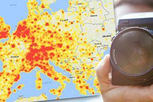 """Warszawa aż """"płonie"""". Mapa miejsc, których zdjęcia są w tej chwili najczęściej pokazywane w sieci"""