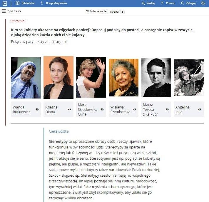 Lekcja poświęcona kobietom (epodreczniki.pl)