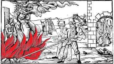 'Straszny widok z Derenburga w hrabstwie Reinstein', drzeworyt wykonany w Norymberdze, przedstawia spalenie oskarżonych o czary kobiet w październiku 1555 r. Jedna z nich przyznała się, że od 11 lat współżyła z diabłem. Gdy podpalono stos, przyleciał diabeł i na oczach setek gapiów zabrał ją ze sobą. Spalone czarownice miały wrócić po kilku dniach do miasta i w ogniu tańczyć w domu jednej z nich. Mąż czarownicy został wtedy wyrzucony z domu z taką siłą, że na oczach sąsiadów zginął na miejscu. Kilka dni później w Derenburgu spalono kolejna kobietę. Oskarżono ją o to, że zakopała pod progiem domu ropuchę. Właściciela domu sparaliżowało. 'Na tych przykładach widać, jak sprytnie diabeł rozsiewa swoją truciznę i jak wiele osób w ostatnich dniach mu uległo' - podsumowuje autor drzeworytu