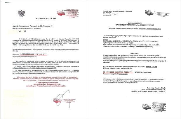 Oszu�ci strasz� komornikiem z Cz�stochowy nie tylko abonent�w RTV