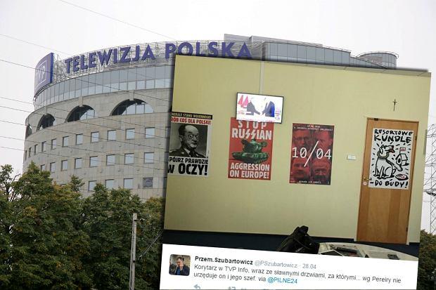 """Dziennikarz pokaza�, jak teraz wygl�da korytarz w TVP Info. """"Propagandowe plakaciki"""". Pereira odpowiedzia�"""