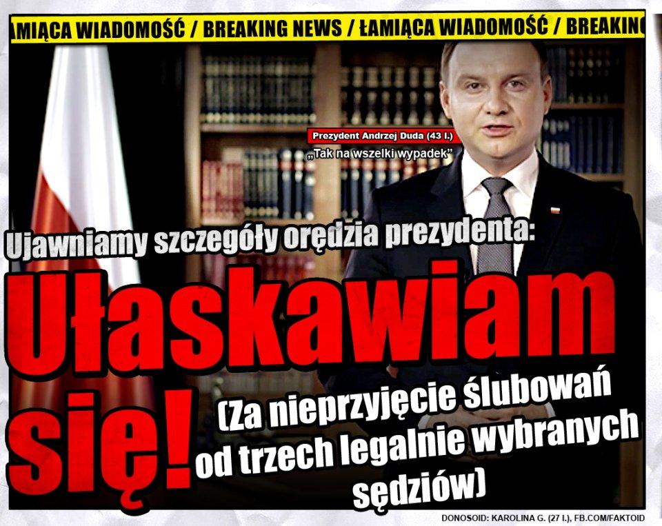 Orędzie prezydenta [Faktoid] - Wiemy, co o 20:00 w orędziu zrobi Andrzej Duda (43 l.) - Faktoid