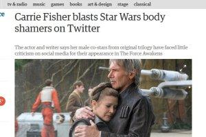 """59-letnia Carrie Fisher, Leia Organa z filmu """"Star Wars"""", krytykowana za wiek i figurę"""