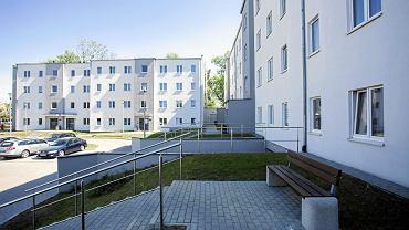 Osiedle budynków wielorodzinnych wybudowane w technologii drewnianej. Warszawa, 8 maja 2018