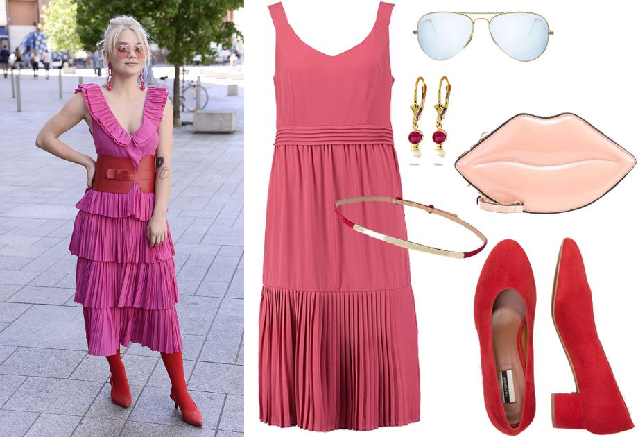 Margaret - stylizacja z różową sukienką