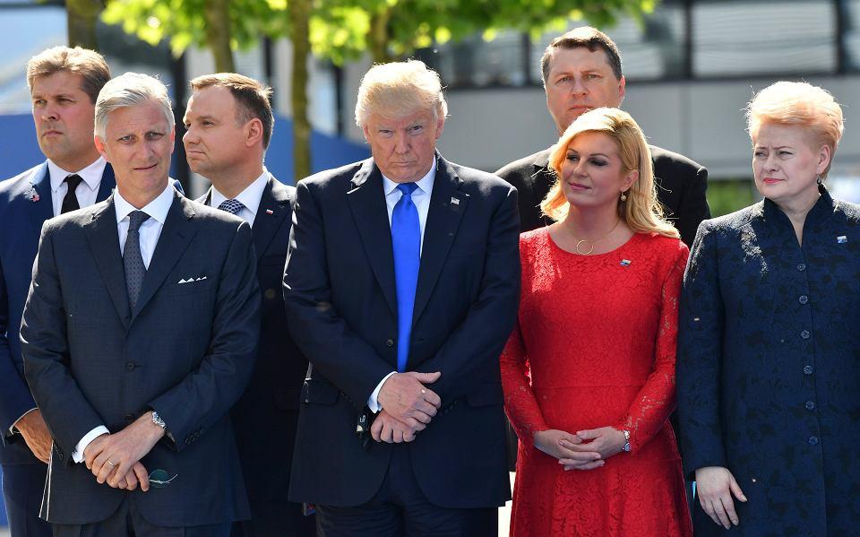 : król Belgii Filip, prezydent USA Donald Trump, prezydent Chorwacji ...