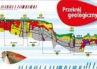 Przekrój geologiczny przez grunt, przez który przebijają się budowniczowie metra