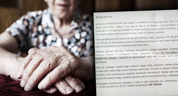 Kolejna metoda oszukiwania starszych ludzi? Oferują dożywotnią pomoc finansową w zamian za mieszkanie