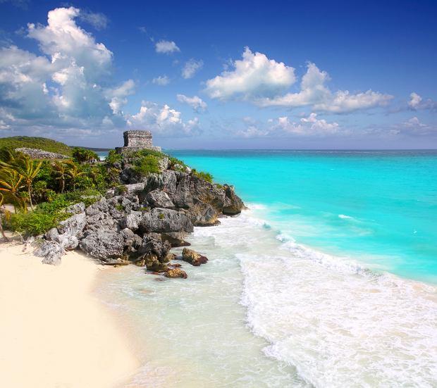 Starożytne ruiny Majów Tulum Karaiby Turkusowy