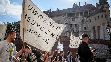 Marsz zwolenników legalizacji medycznej marihuany w Krakowie