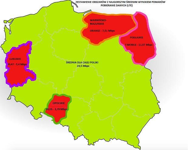 Średnia prędkość pobierania danych przez LTE w Polsce (maj 2018)