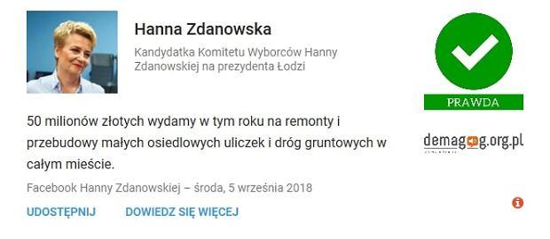 Hanna Zdanowska - wypowiedź zweryfikowana przez serwis Demagog.org.pl