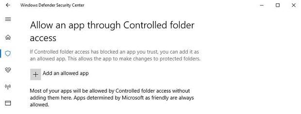 Windows 10 Controlled Folder