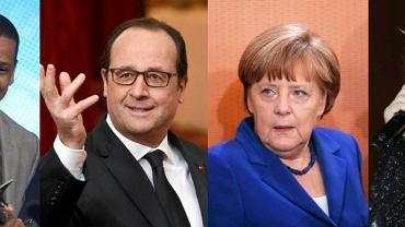 Jay-Z i Kanye West; Francois Hollande; Angela Merkel; Mick Jagger