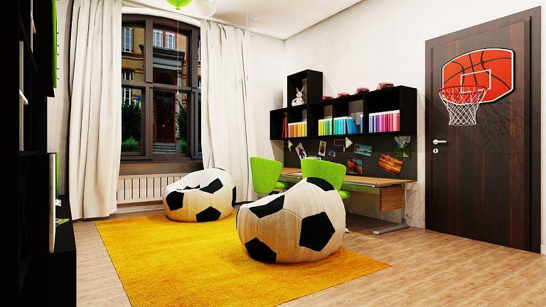 Projekt pokoju dla dwóch chłopców.