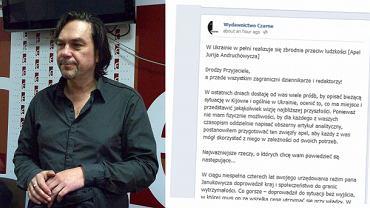 Jurij Andruchowycz i jego apel zamieszczony na Fan Page'u Wydawnictwa Czarne