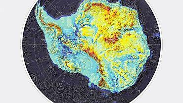 Mapa pozbawionej lodu Antarktydy