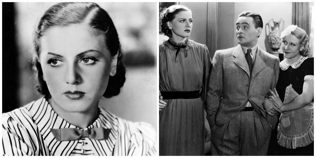 Janina Wilczówna w filmie 'Bolek i Lolek', po prawej aktorka na planie w towarzystwie Adolfa Dymszy i Aliny Żeliskiej, 1936 r. (fot. Zbiory Filmoteki Narodowej)