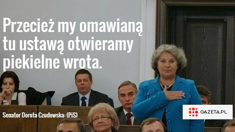 Dorota Czudowska (PiS) podczas debaty w Senacie